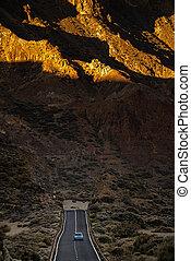 山, カナリア, 国民, teide, それ, 公園, 長い間, 島, 谷, -, tenerife, 道, 自動車