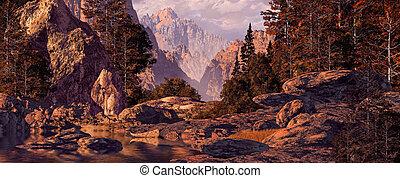 山, カヌー, 旅行, 岩が多い
