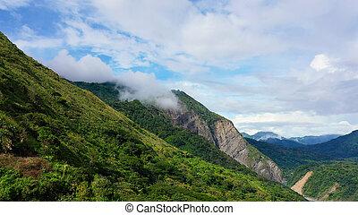 山, カバーされた, luzon., 山, rainforest, 航空写真, 島, 風景, ビュー。