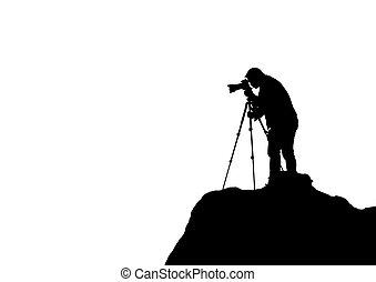 山, カメラマン, 日没, bac, 白, 射撃