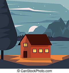 山, カラフルである, 家, 湖, nightly, 背景, 国, 風景