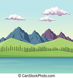 山, カラフルである, 湖, 日中, 背景, 谷, 風景