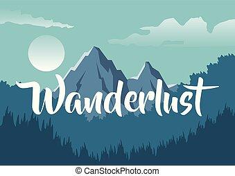 山, カラフルである, wanderlust, テキスト, 森林, 背景, 夜, 風景