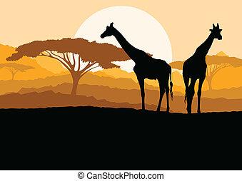 山, キリン, 家族, 自然, アフリカ, イラスト, シルエット, ベクトル, 背景, 野生, 風景