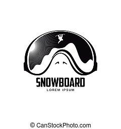 山, グラフィック, ゴーグル, 黒, テンプレート, スキー, ロゴ, 白