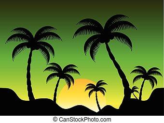 山, ココナッツ, 日没, 光景