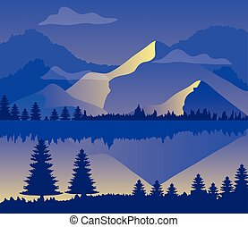 山, シルエット, 風景, 紫色, 湖, 木, 松