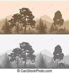 山, シルエット, 風景, seamless, 木