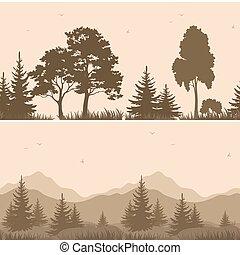 山, シルエット, seamless, 木, 風景