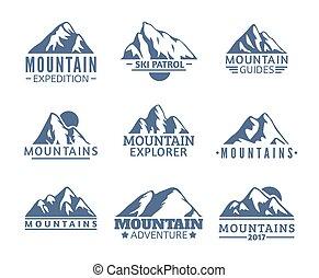 山, シンボル, 乗車, シルエット, ベクトル, リゾート, ロゴ, 山, 旅行, 手, 引かれる, set., 隔離された, アイコン, snowboarding, ラベル, elements., スキー