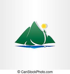 山, シンボル, 湖, 太陽