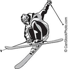 山, スキーをする, スキーヤー