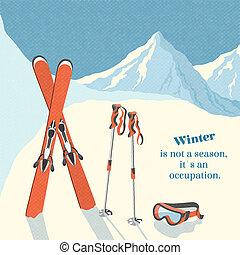 山, スキー, 冬の景色, 背景