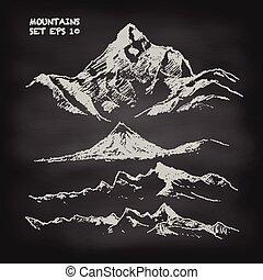山, スケッチ, セット, 型, ベクトル, 黒板