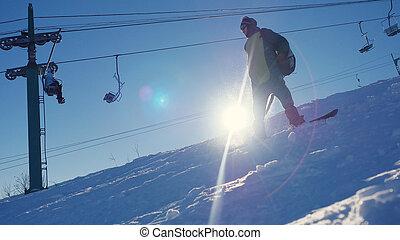 山, スノーボーダー, 火炎信号, 乗車, リゾート, によって, 効果, 太陽, lense, スキー