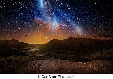 山, スペース, 上に, 空, 夜, ∥あるいは∥, 風景