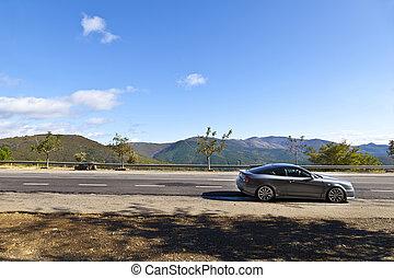 山, スポーツ, 駐車される, 道, 自動車