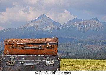 山, スーツケース, 型, 旅行, 上に, 風景