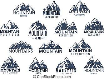 山, セット, アイコン, ベクトル, スポーツ, 観光事業