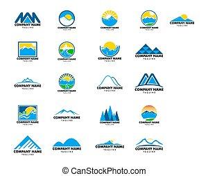 山, セット, ベクトル, デザイン, テンプレート, ロゴ