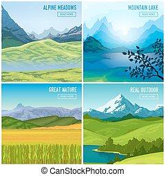 山, セット, compositions, 風景