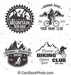 山, セット, illustration., clubs., ベクトル, biking