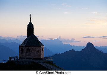 山, チャペル, 上に, wallberg, ∥において∥, 日没