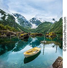 山, ノルウェー, 湖, ボート, 釣り