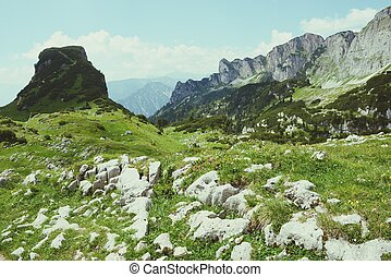山, ハイキング, チロル, (austria), rofan, aeria