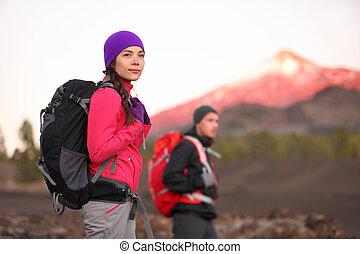 山, ハイキング, 人々