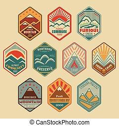 山, バッジ, set1color