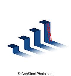 山, ビジネス, グラフ, はしご, peak., concept.