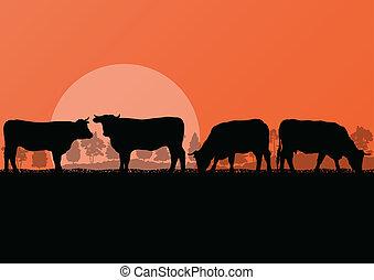 山, ビーフ牛, 自然, 田舎, イラスト, 群れ, 農場, ベクトル, 森林, 背景, 牛, 野生, ミルク, 風景