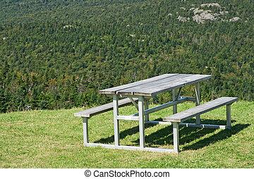 山, ピクニック, 上に, 森林, テーブル, 光景