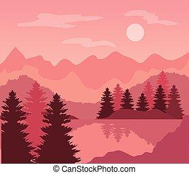 山, ピンク, 風景, 木, 松