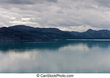 山, フィヨルド, 曇っている, 光景