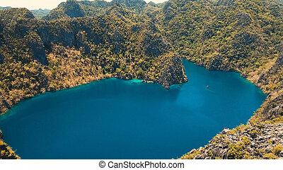 山, フィリピン, palawan., 島, 湖, トロピカル, coron, カマス