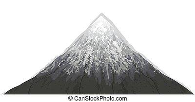 山, フジ, イラスト, ベクトル, 雪