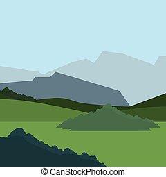 山, ブッシュ, 自然, 牧草地, 風景