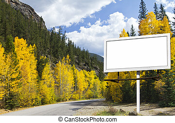 山, ブランク, 秋, 広告板, 前方へ, 道
