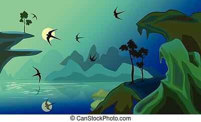 山, ベクトル, カモメ, 湖, 風景