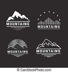 山, ベクトル, セット, icons.