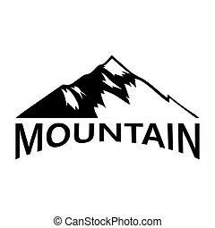 山, ベクトル, バッジ, アイコン