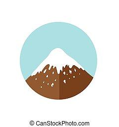 山, ベクトル, 上, ロゴ