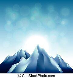 山, ベクトル, 背景, 自然