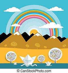 山, ベクトル, 自然, 太陽, イラスト, ペーパー, 虹, 川の景色