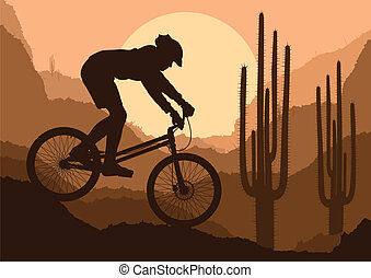 山, ベクトル, biking, 背景, ポスター