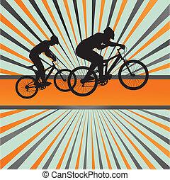 山, ベクトル, biking, 背景, 爆発