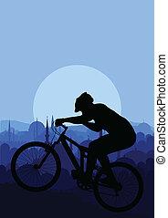 山, ベクトル, biking, 背景