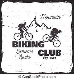山, ベクトル, biking, illustration., club.